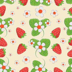 Strawberry pattern on a light background. Seamless pattern of berries, leaves and strawberry flowers. Market of farmers, packing of products.