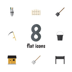 Flat Garden Set Of Pump, Pail, Shovel And Other Vector Objects. Also Includes Container, Pitchfork, Fence Elements.