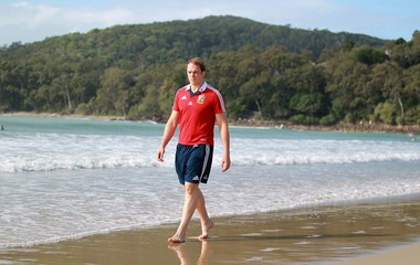 British & Irish Lions' Alun-Wyn Jones poses for a picture on Noosa Beach after the press conference