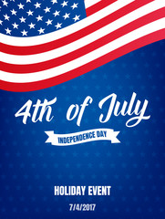 4th of July. USA Independence Day poster. Fourth of July holiday event banner