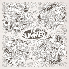 Line art vector set of summer doodle designs