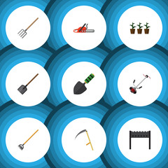 Flat Farm Set Of Shovel, Cutter, Hacksaw And Other Vector Objects. Also Includes Fork, Tool, Blade Elements.