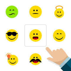 Flat Face Set Of Happy, Have An Good Opinion, Wonder And Other Vector Objects. Also Includes Confused, Happy, Cheerful Elements.