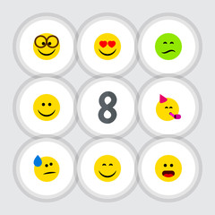 Flat Gesture Set Of Smile, Wonder, Love And Other Vector Objects. Also Includes Tears, Eyes, Face Elements.