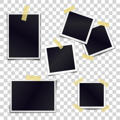 Vector Collection of blank photo frames sticked on duct tape to transparent background. Template mockups for design.