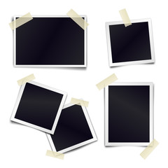 Vector Collection of blank photo frames sticked on duct tape to white background. Template mockups for design.