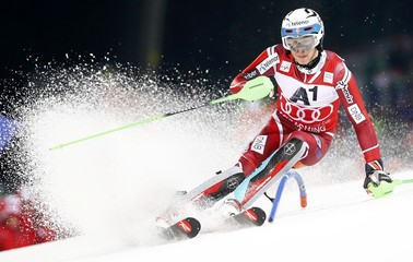 Kristoffersen of Norway skis during the men's Alpine Skiing World Cup slalom in Schladming