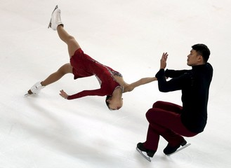 Peng Cheng and Zhang Hao of China compete during the pairs short programme at the ISU Bompard Trophy figure skating competition in Bordeaux, southwestern France
