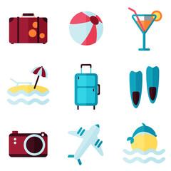 summer rest flat icon set