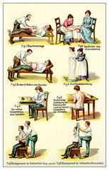 Massage, gymnastic, postures, vintage illustration