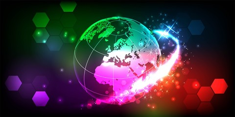 Brightly Colorful Fireworks and Salute round earth. isolated on black background. Vector illustration