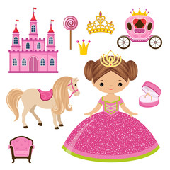 Poster Little Princess, castle and carriage