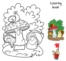 Mushrooms and snail. Coloring book. Cartoon vector illustration