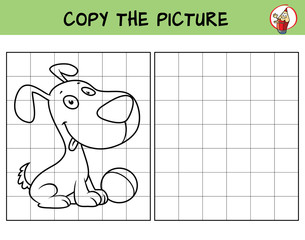 Funny little dog with a ball. Copy the picture. Coloring book. Educational game for children. Cartoon vector illustration