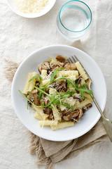 Italian Pasta with mushrooms, arugula and parmesan