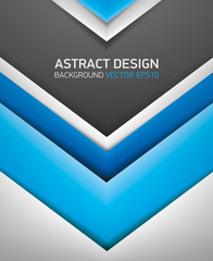 Abstract volume background. Blue and gray stripes, cover for project presentation, vector design