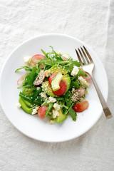 Light Avocado Salad with grape and arugula