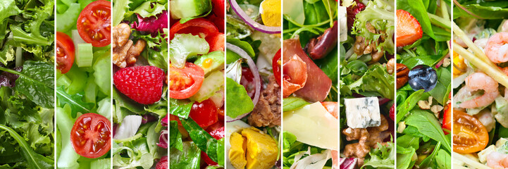 Collage of different salads.