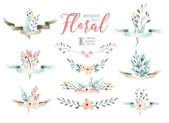 Hand drawing  isolated watercolor floral illustration with leave