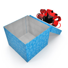 Present box with red overwhelming bow on white. 3D illustration