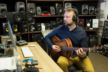 Man composing in studio
