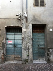 Two old doors, building on sale