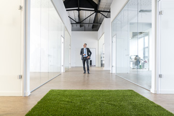 Mature businessman standing in office space with green grass carpet