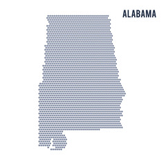 Vector hexagon map of State of Alabama on a white background