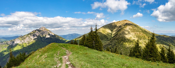 Photo sur Aluminium Colline Panoramic view of two typical hills from Little Fatra hills