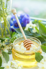 Honey in glass jars
