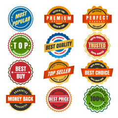 Colorful round labels and stickers isolated on white background. Vector illustration