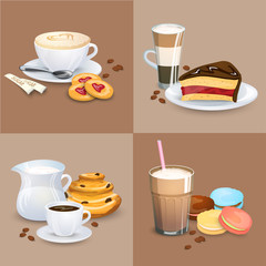 Set of Coffee drinks, sweets and bakery products