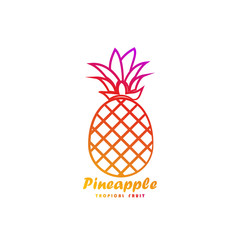 Template logo for pineapple tropical fruit