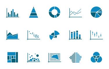 Diagramme Icons - Blau