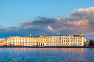 View of the Winter Palace (Hermitage) at sunset in spring. St. Petersburg. Russia