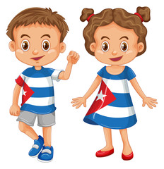 Boy and girl wearing shirt with Cuba flag