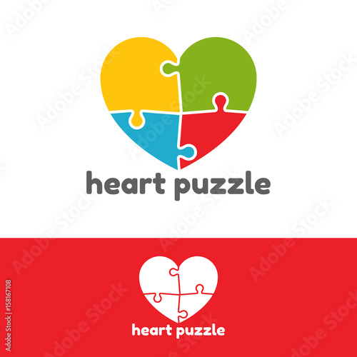 heart puzzle logo design vector template stock image and royalty