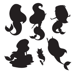 Silhouettes of mermaid girls vector illustration. Cute cartoon card with little mermaid. Isolated black silhouette on white, cartoon style