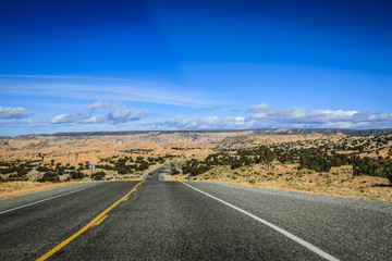 Driving across the Badlands on NM76 in New Mexico
