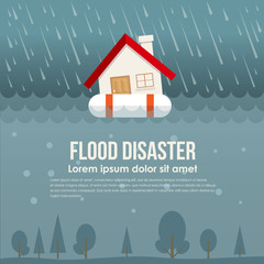 Flood disaster with home on Life ring in flood water and rain vector design