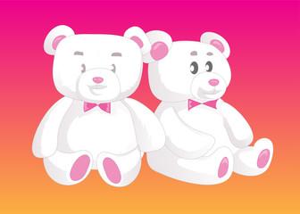 Two cute Teddy bears in love. Female and male.
