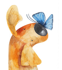 Red dog with blue butterfly on his nose. Watercolor illustration. Hand drawing