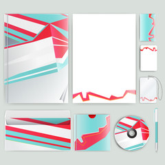 Corporate identity template with color elements. Vector company business style for brandbook, report and guideline. Stationery template with abstract pattern theme illustration.
