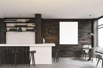 Dark wooden bar, poster, side