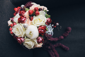 beautiful modern wedding bouquet, black background
