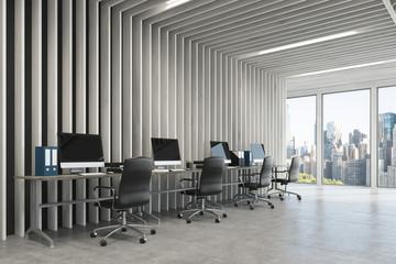 Open space gray office wood side