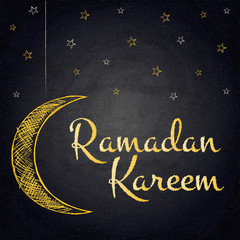 Ramadan Kareem background with moon and stars on blackboard