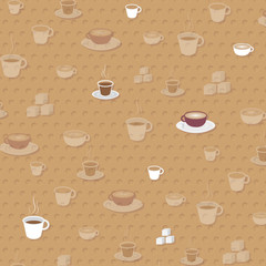 Cup of Coffee Pattern  - Vector Illustration.