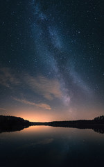 Scenic nightscape with milky way and calm lake in Finland