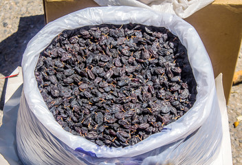 Dried grapes in a bag